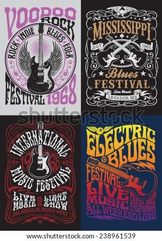 Vintage Rock Poster T-shirt Design Set