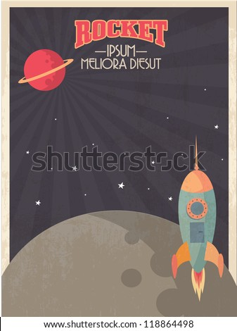 vintage rocket template vector