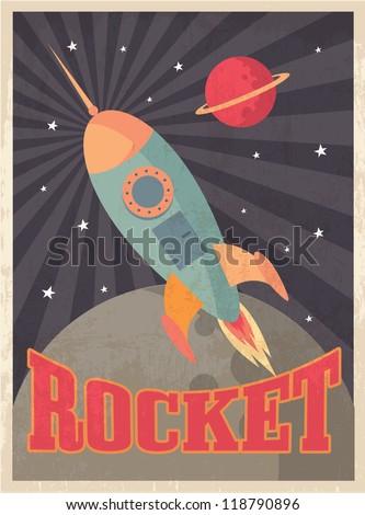 vintage rocket vector/illustration