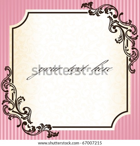 Vintage rococo frame in pink (EPS10); jpg version also available