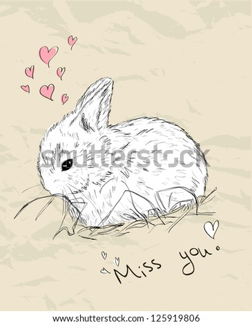 Vintage romantic card with cute animal. Vector illustration EPS8