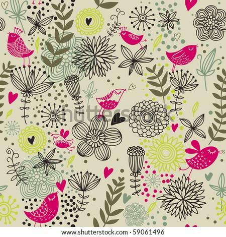 Vintage romantic seamless pattern in cartoon style
