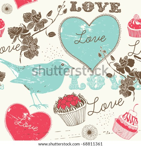 Vintage romantic seamless pattern with bird