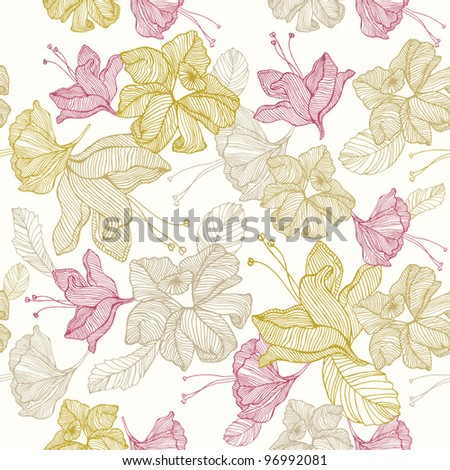 Vintage romantic seamless pattern with flowers