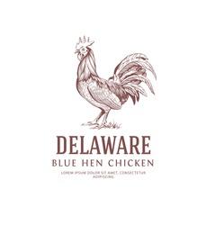 Vintage Rooster Logo. Blue Hen Chicken. Delaware State Bird Symbol