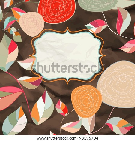 Vintage rose floral card (not auto-traced). EPS 8 vector file included
