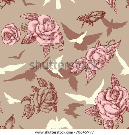 Vintage roses and birds seamless pattern