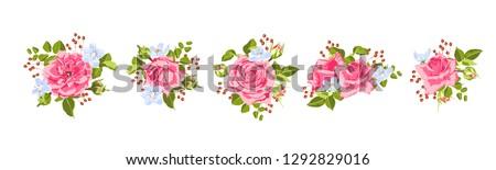 Vintage Roses, Seamless Wedding Pattern. Vector Pink Flower, Green Leaf. Elegant Vintage Card or Invite Design. Set of Peony Spring Bouquet, Summer Floral Illustration. Watercolor Vintage Drawn Style. #1292829016