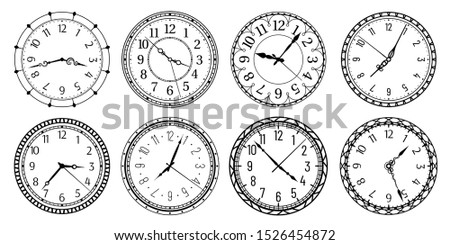 Vintage round clock face. Antique clocks with arabic numerals, retro watchface and antic watches. Elegant time clock, hour clocking sign. Isolated vector illustration symbols set