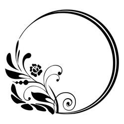 vintage round floral frame border,  Vector illustration of round decorative frame