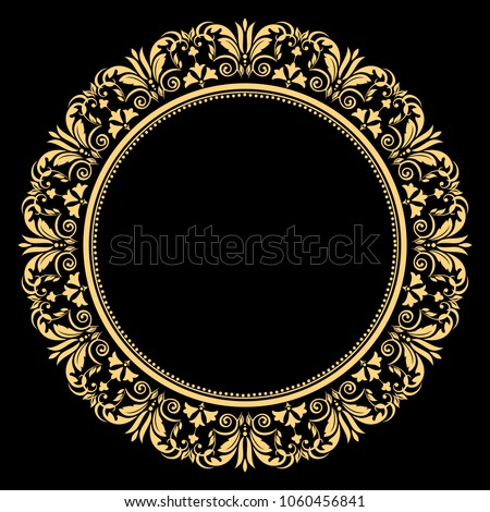 Vintage round frame in retro style, barroco. Flower decorative gold ornament, element for greeting cards, invitation, menu. Stylish vector graphics. Foto stock ©