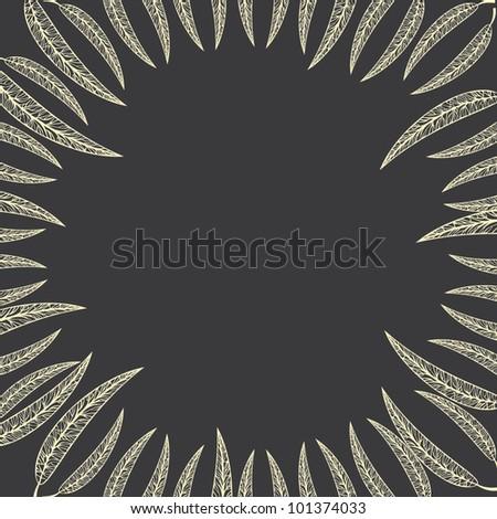 Vintage round frame of leaves