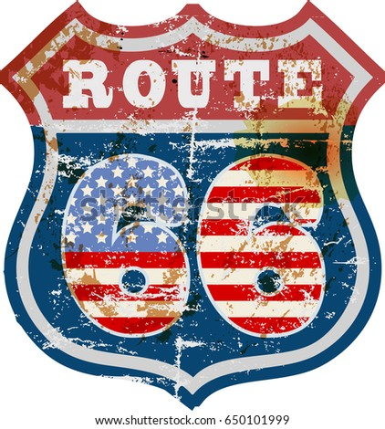vintage route sixty six road sign,retro grungy vector illustration