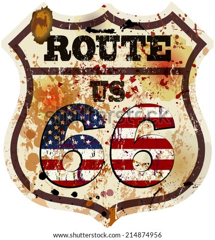 vintage route sixty six road sign retro style vector illustration