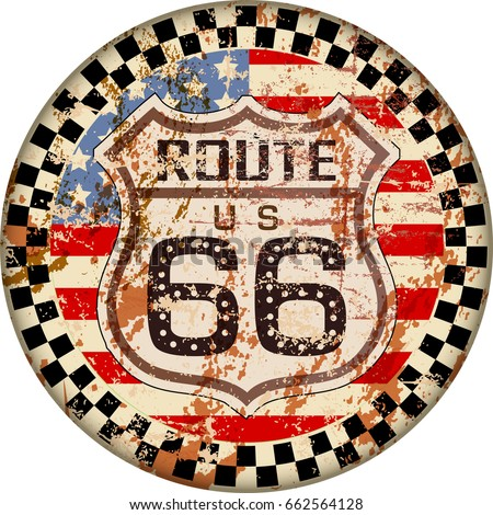 vintage route sixty six sign,retro grungy vector illustration
