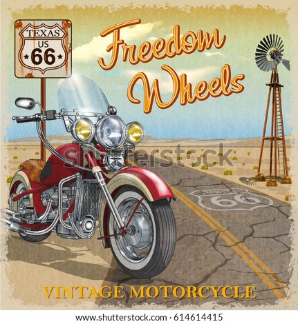 Vintage Route 66 Texas motorcycle poster.