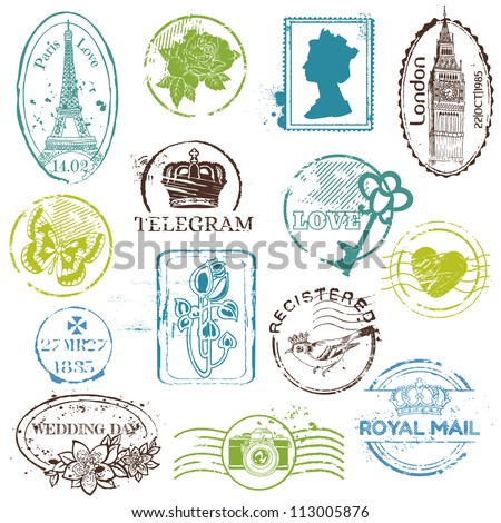 Vintage Rubber Stamp Collection for your design scrapbook in vector