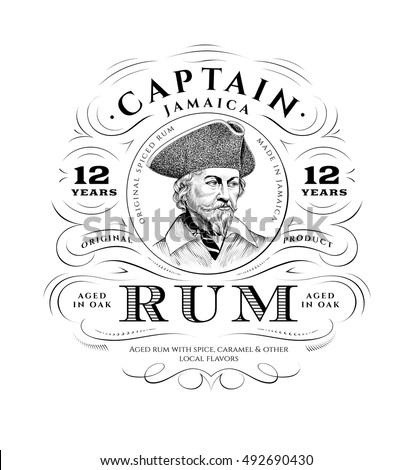 vintage rum label logo