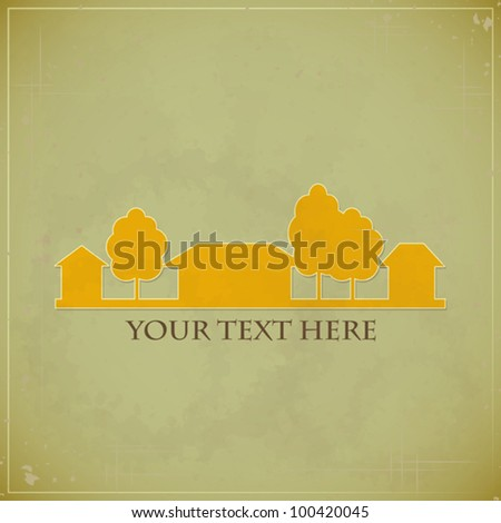 Vintage Rural estate symbol for design on grunge background - vector illustration