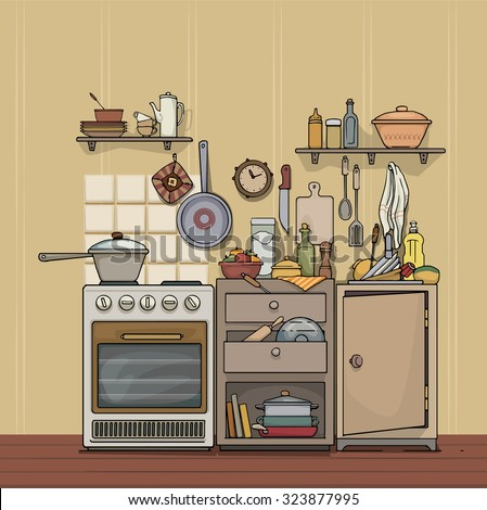 vintage kitchen illustration  laptoptablets, Kitchen design