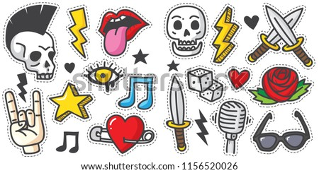 Vintage 80s-90s Rock And Roll Fashion Cartoon Illustration Set Suitable for Badges, Pins, Sticker, Patches, Fabric, Denim, Embroidery. Cartoon punk doodle set.
