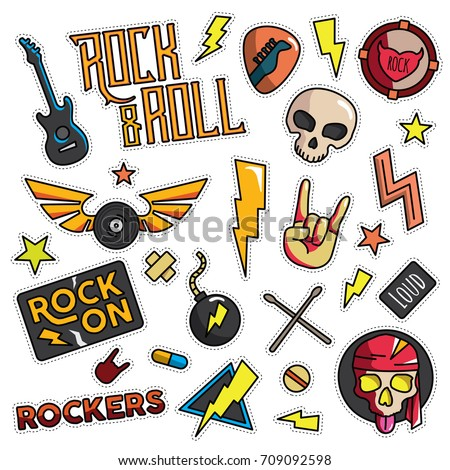 Vintage 80s-90s Rock And Roll Fashion Cartoon Illustration Set Suitable for Badges, Pins, Sticker, Patches, Fabric, Denim, Embroidery and Other Fashion Related Purpose
