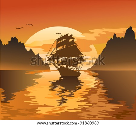 Vintage sailboat sailing at sunset, vector illustration