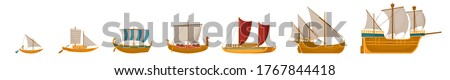 Vintage sailboats set. Isolated cartoon vintage wooden sail boat ship icon collection. Vector old nautical sailboat vessel and ocean travel concept Stockfoto ©