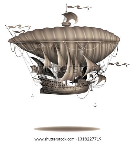 vintage sailing air ship on a