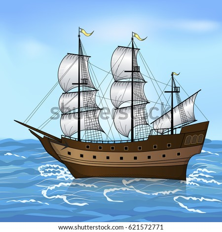 vintage sailing ship in the sea