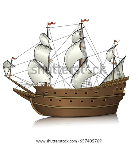 vintage sailing ship with