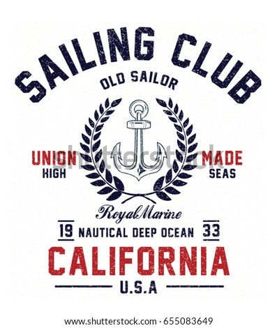 vintage sailor typography for t ...