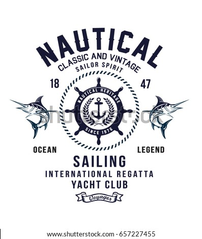 Vintage sailor typography for t-shirt print , vector illustration #657227455