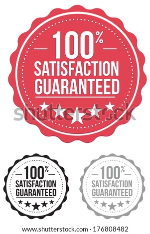 vintage satisfaction guaranteed seal. stamp. red. vector. set.