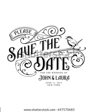Vintage Save the Date Card with bird