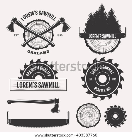 vintage sawmill logo set labels