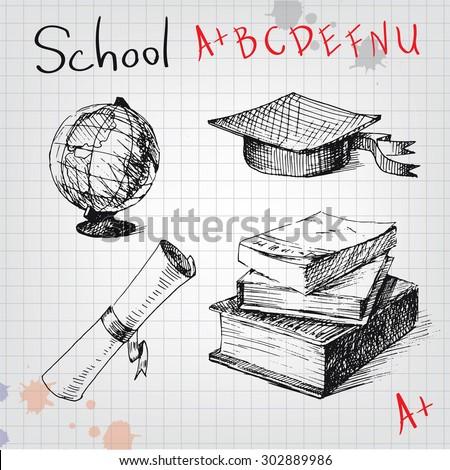vintage school elements  hand