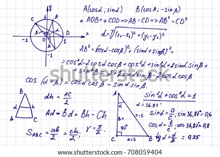 Vintage scientific and educational background. Mathematical  law theory, outlines and formula equation on notebook page. Vector hand-drawn illustration.