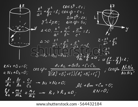 Vintage scientific and educational background. Trigonometry law theory, mathematical formula equation and  geometric figures on blackboard. Vector hand-drawn illustration. 10 EPS.