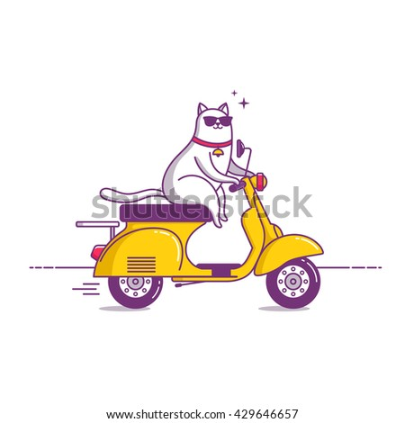 vintage scooter with cat  cool...