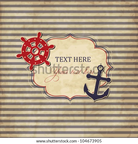 Vintage scrap nautical card with frame, anchor and wheel