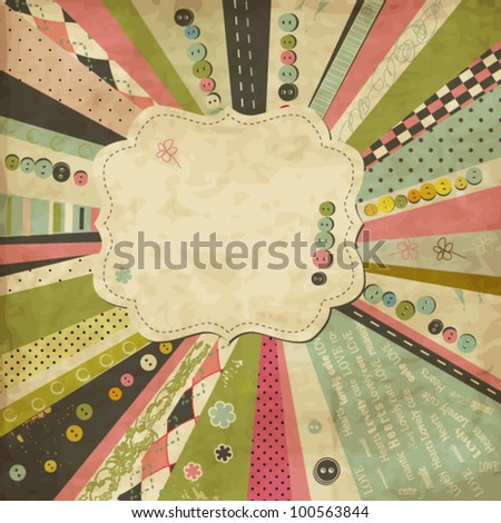 Vintage scrap template with frame and buttons