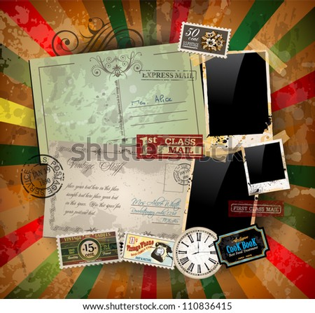 vintage scrapbook composition...