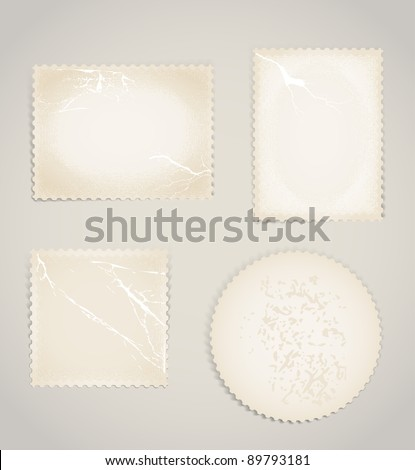 Vintage scratched post stamps template clip-art - stock vector