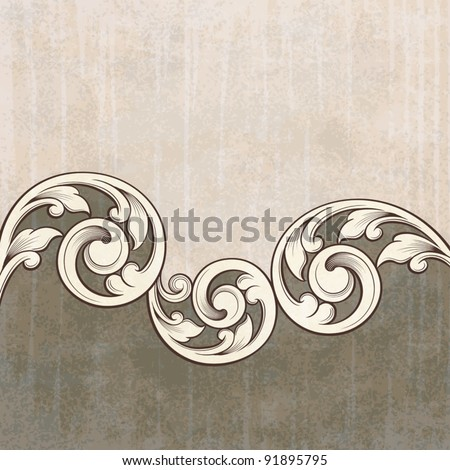 Vintage scroll engraving pattern at grunge background card invitation vector