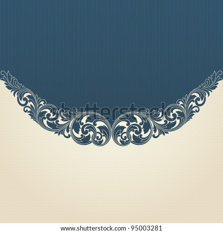 Vintage scroll engraving pattern border frame card invitation vector