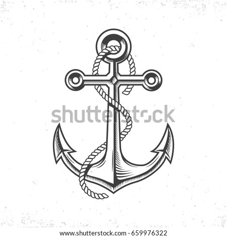 Vintage sea anchor with a rope, isolated on white background with grunge texture.Hand drawn in a graphic style
