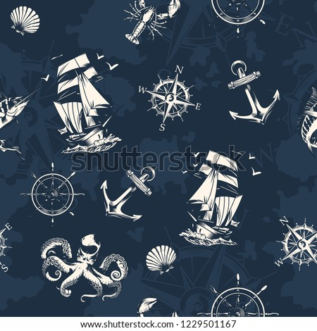 Vintage sea and nautical seamless pattern with sailing ship navigational compass wheel octopus lobster swordfish on dark blue background vector illustration