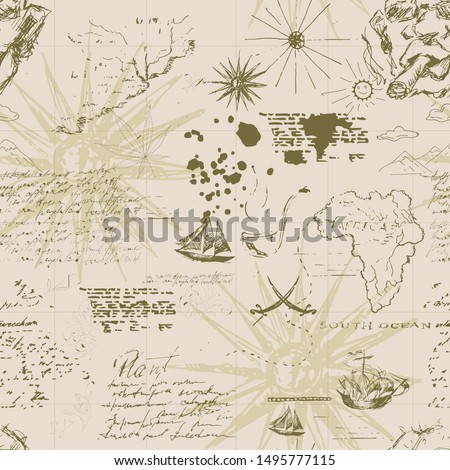 Vintage sea navigation map with ships. Seamless pattern. Sketch. Hand drawing.