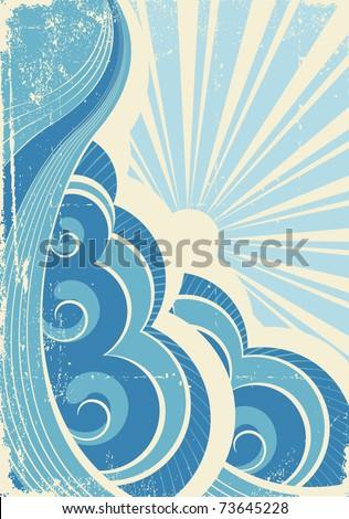 vintage sea waves and sun....